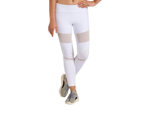 White Mesh and Leather Stlye Yoga Leggings