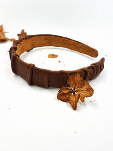 Leather pleats headband