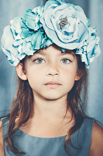 Ocean blue flower crown - MajulaHandmade