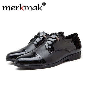 Merkmak Genuine Leather Men Shoes Fashion Oxfords Lace Up Pointed Top Designer Formal Men Shoes Flats Shoe Dress Shoes For Party