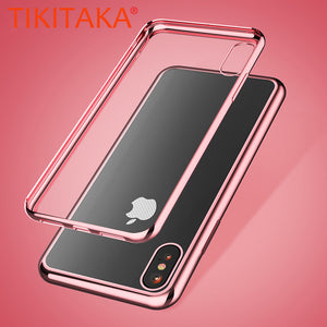 Luxury Transparent Electroplated TPU Phone Cases For iphone X Case Ultra thin Soft Clear Plating Silicone Cover Shockproof Armor