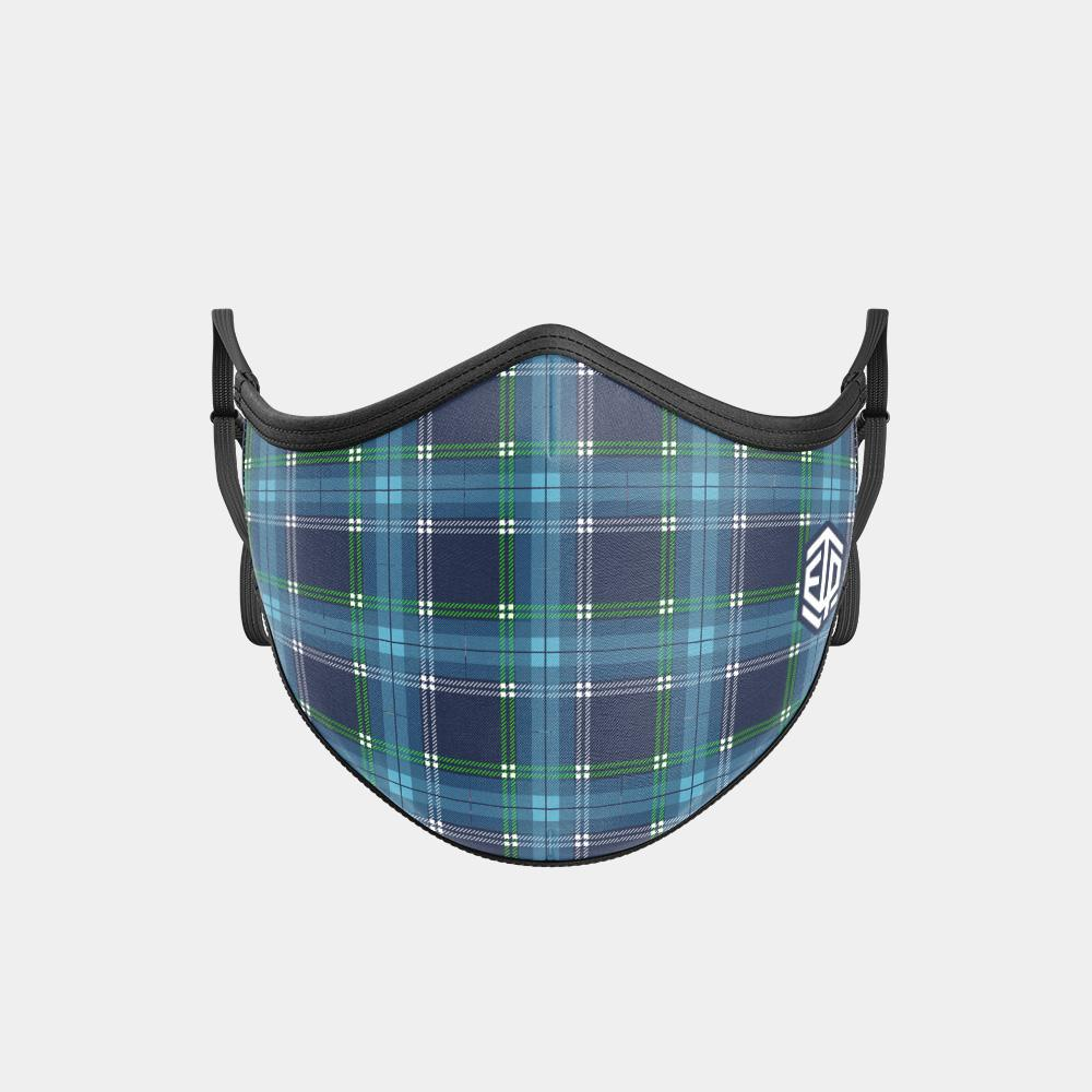 TRIPLE LAYER TRINITY MASK - BLUE PLAID