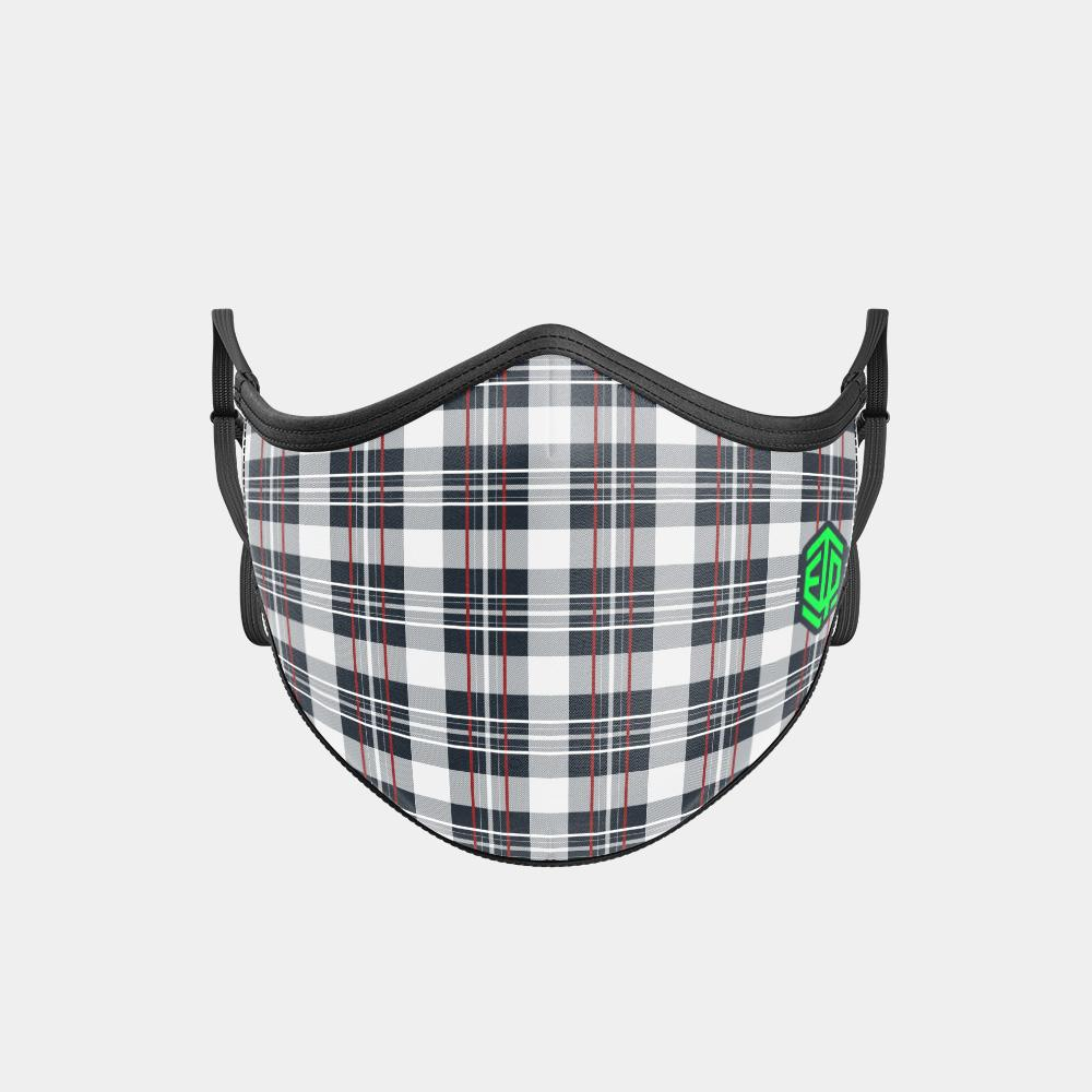 TRIPLE LAYER TRINITY MASK - WHITE PLAID