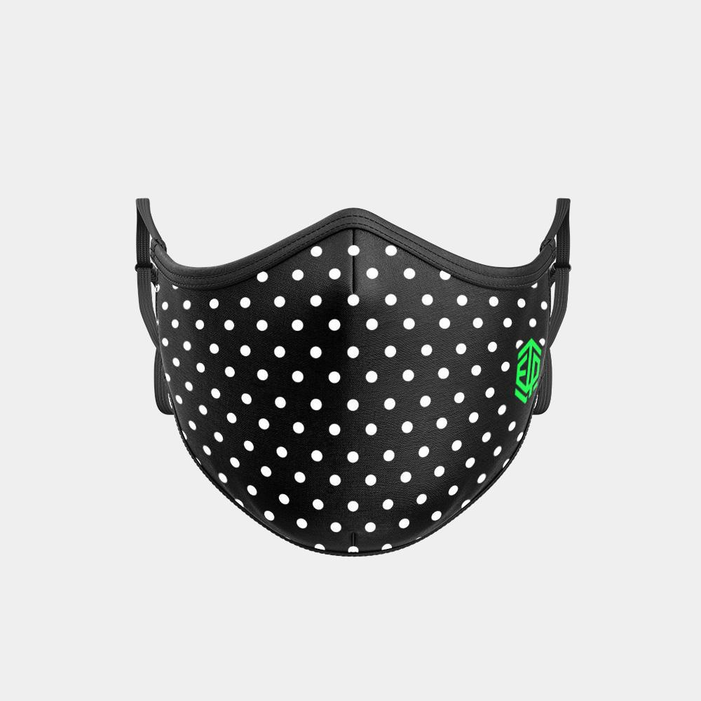 TRIPLE LAYER TRINITY MASK - WHITE POLKA DOTS