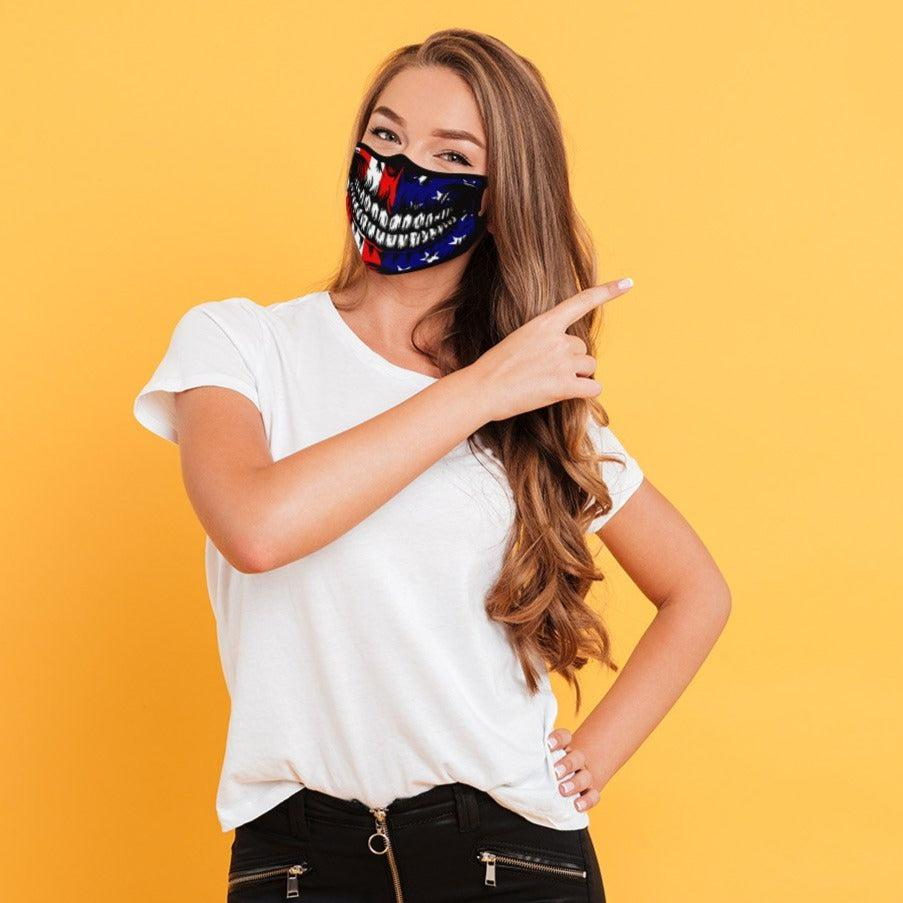 USA SKULL 4-LAYER FACE MASKS