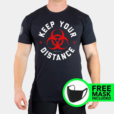 KEEP YOUR DISTANCE + FREE FACE MASK Men's T-shirt