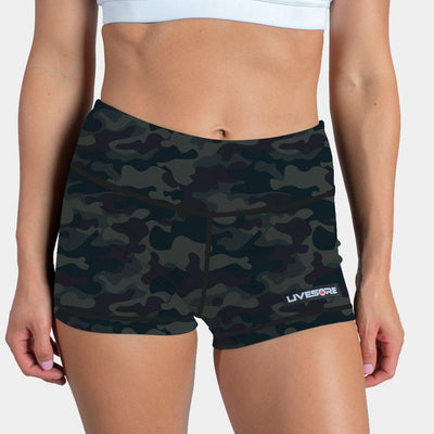 FIRE No-Rise Booty Shorts - GREEN CAMO