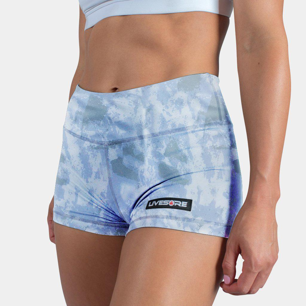 No-Rise Booty Shorts - BRUSH STROKE