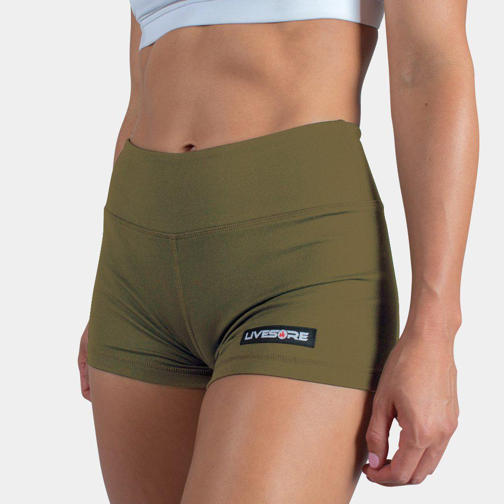 No-Rise Booty Shorts - OLIVE GREEN