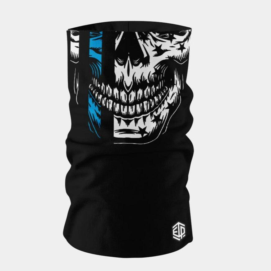 """ICE COOL"" FACE SLEEVE BUFF - BLUE LINE SKULL"