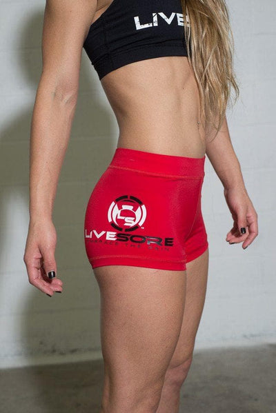 LiveSore Scarlet Red Booty Shorts