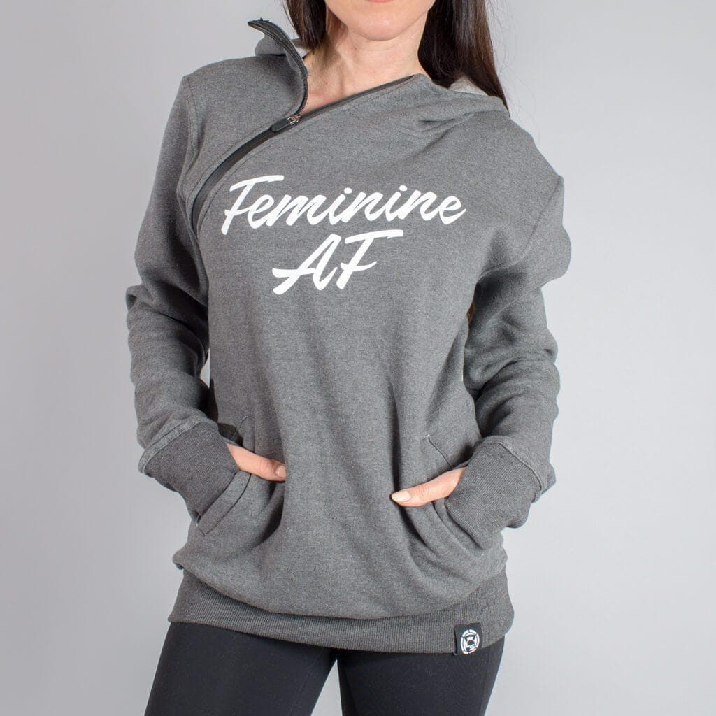 "Feminine AF - Throat Punch ""Function"" Shoulder Zip Hoodie-Womens Apparel,Womens Sweaters-Livesore.net"