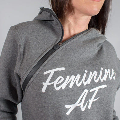 "Feminine AF - Throat Punch ""Function"" Shoulder Zip Hoodie"