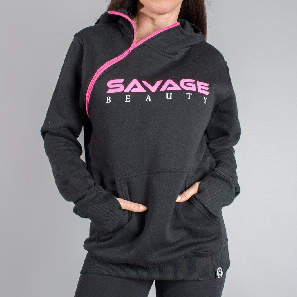 Savage Beauty Shoulder Zip Hoodie