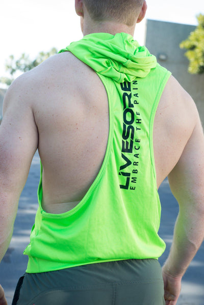 Sleeveless Neon Green LiveSore Muscle Hoodie