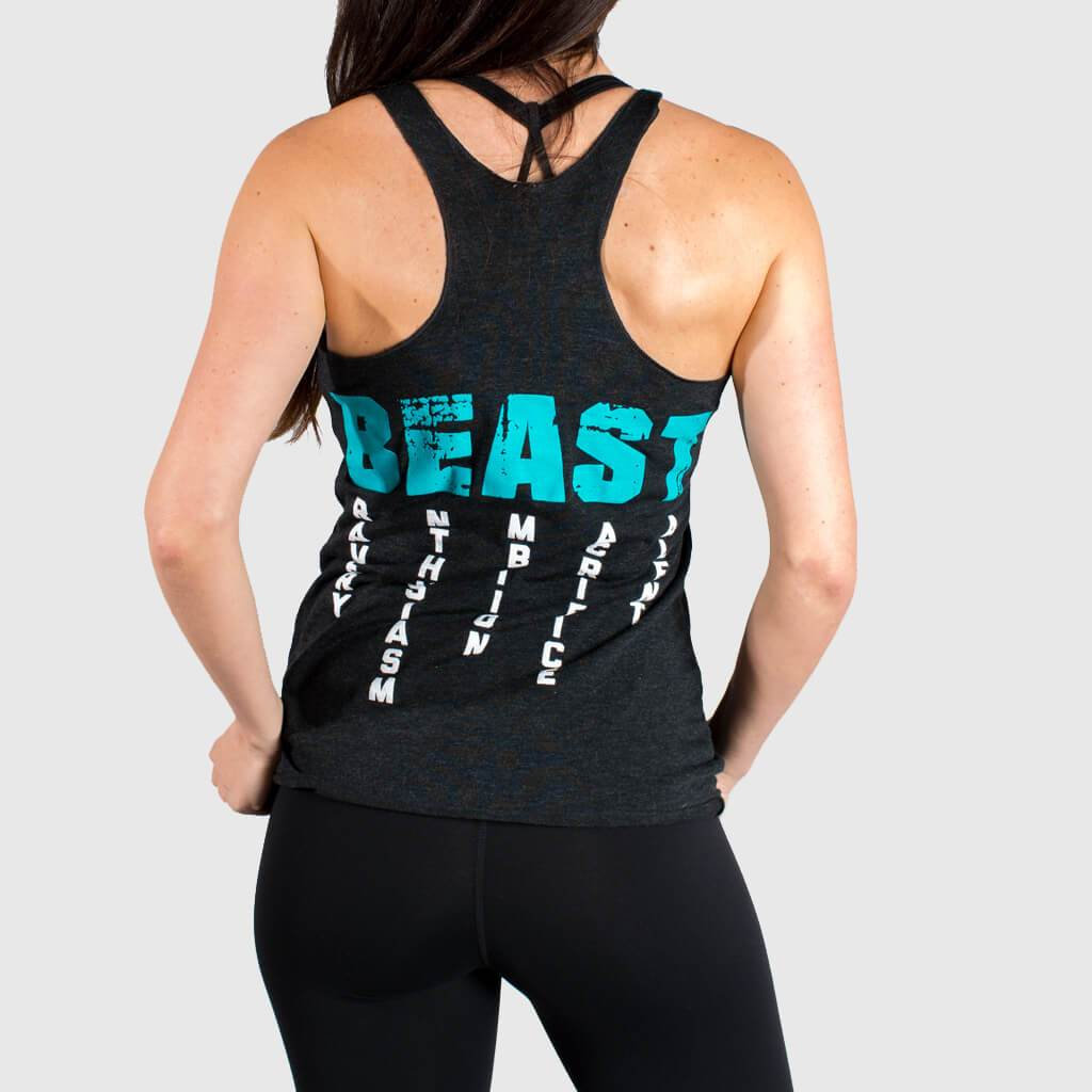 Aqua NEW Women/'s Muscle Club Apparel Gym is my Therapy Racerback Tank Top