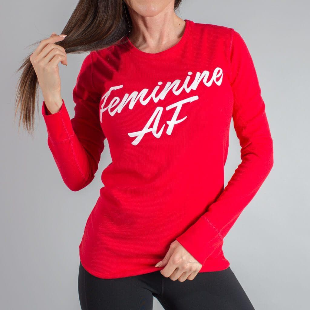 Feminine AF - Throat Punch Thermal-Womens Apparel,Womens Long Sleeve-Livesore.net