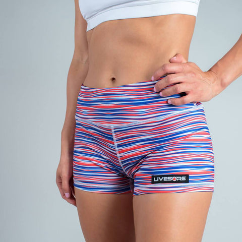 FIRE No-Rise Booty Shorts - FREEDOM STRIPES