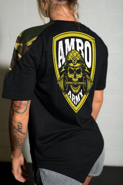 AMBO ARMY Black & Tan Camo Women's T-Shirts