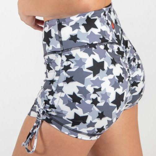 Fire CinchSide Tie Booty Shorts - Rock Star-Womens Apparel,Womens Shorts-Livesore.net
