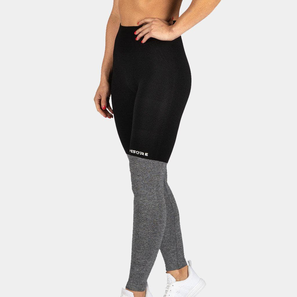 FIRE Seamless Leggings - BI-POLAR Black & Gray