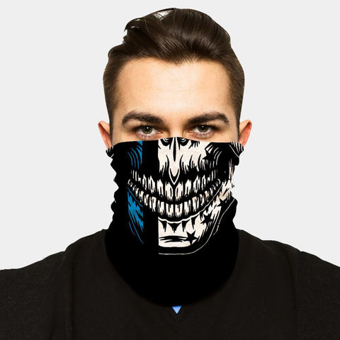 FACE SLEEVE BUFF - BLUE LINE SKULL