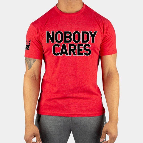 NOBODY CARES Red Men's T-Shirt