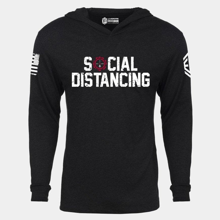 SOCIAL DISTANCING Lightweight Unisex Pullover Hoodie