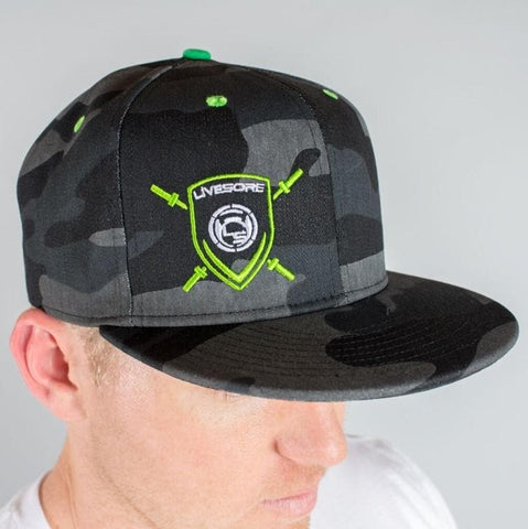 "Dark Camo ""Green Shield"" Snap Back Flatbill"