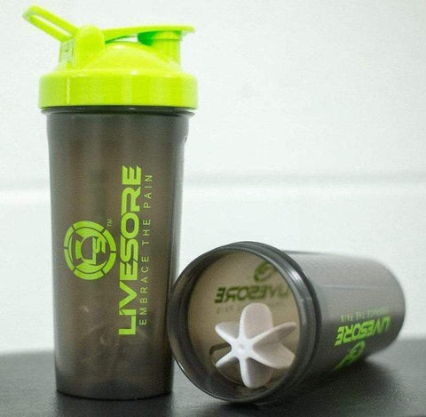 Black & Green LiveSore Shaker Bottle