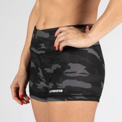 FIRE No-Rise Booty Shorts - BLACK CAMO