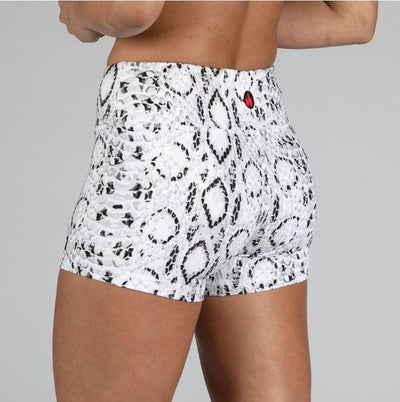FIRE No-Rise Booty Shorts - WHITE SNAKE