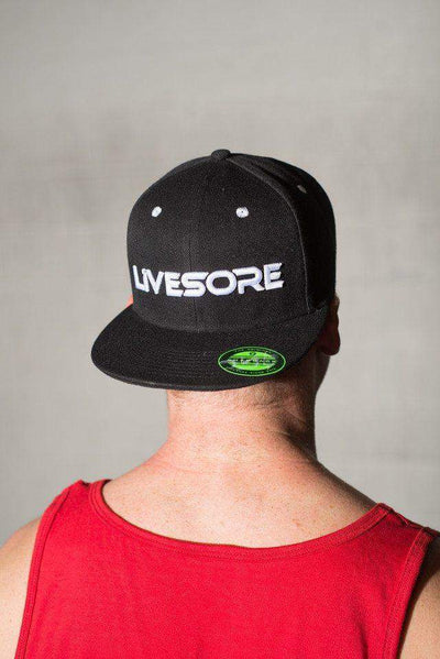LiveSore Black w/ White Snap Back Hat