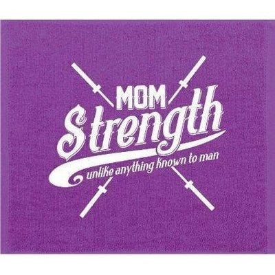 Mom Strength Purple Gym Towel