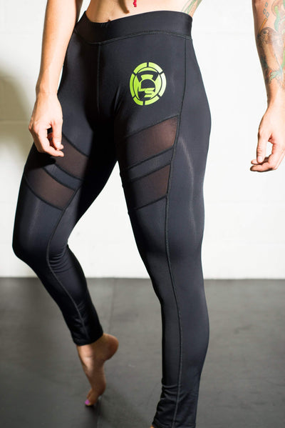 Onyx Black Mesh Cutout Compression Pants