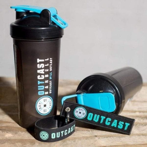 Outcast Barbell Shaker Bottle w/ Bracelet and Key Chain