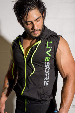 Sleeveless Black & Neon Green LiveSore Hoodie
