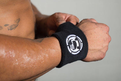 Black with White Logo Sweat Wrist Bands