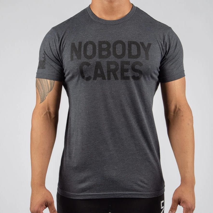 NOBODY CARES Charcoal Ghosted T-Shirt-Mens Apparel,Mens T-Shirts-Livesore.net