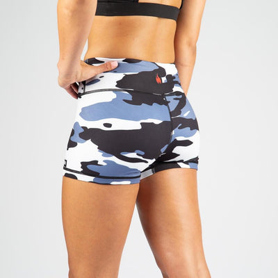 FIRE No-Rise Booty Shorts - Black Arctic Camo