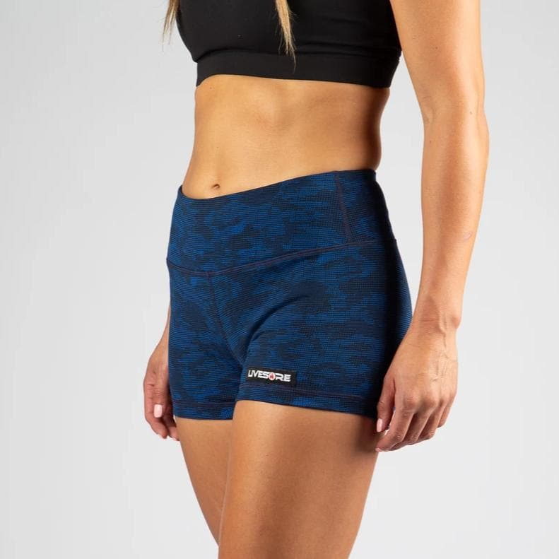 No-Rise Booty Shorts - DIGITAL BLUE CAMO