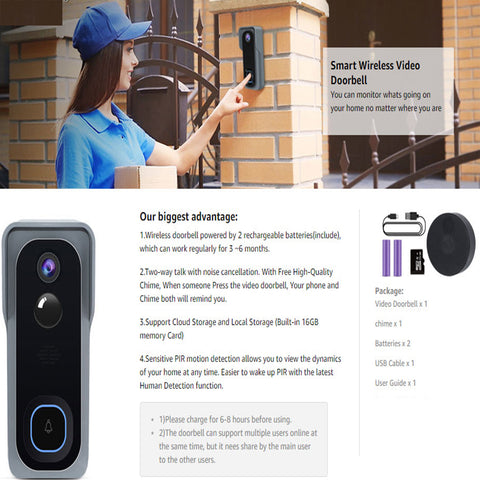 Video Doorbell WiFi Smart Camera With Chime, Two-Way Audio