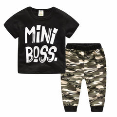 Baby Clothing - Boss Clothes For Kids Wear Summer Letter T-shirt Suits Children Sports Camouflage Two-Pieces Boys Casual Clothing