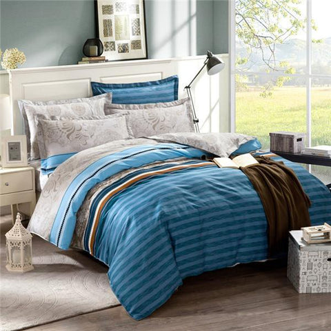 Bedding - Simple Egyptian Cotton Bedding Set King Size Striped Bedspread Grey Color Plaid Cotton Bed Sheets For Men