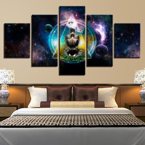 Buddha Canvas Wall Art - 5 Panel Yoga Symbol  Buddha Living Room Wall Art