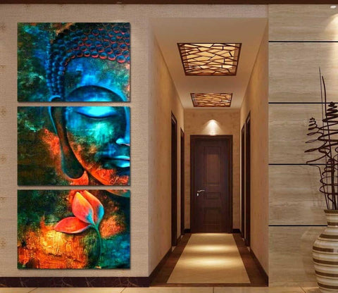 Buddha Canvas Wall Art - Blue Buddha Modern Home Decor Wall Art  Canvas Print