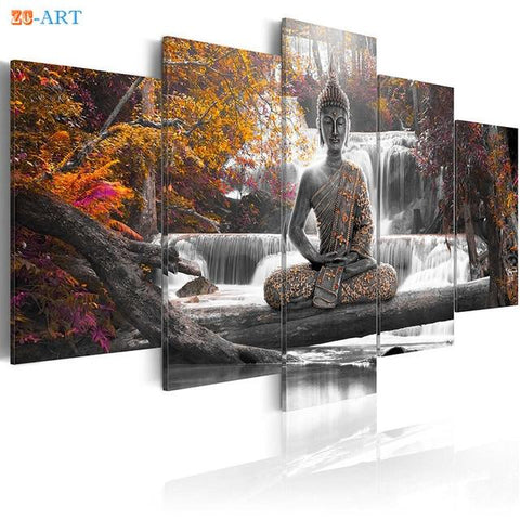 Buddha Canvas Wall Art - Buddha  Art Prints Waterfall Canvas Art 5 Pieces