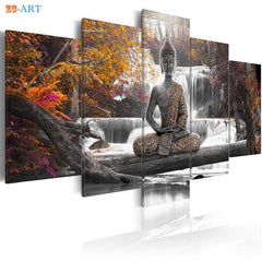Buddha  Art Prints Waterfall Canvas Art 5 Pieces