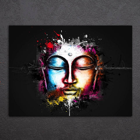 Buddha Canvas Wall Art - Buddha Face Canvas Living Room Decor