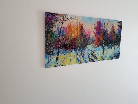 Buddha Canvas Wall Art - Fantasy Forest's Vivid Colours, Acrylic Art Work Stunning, Panoramic Layout.